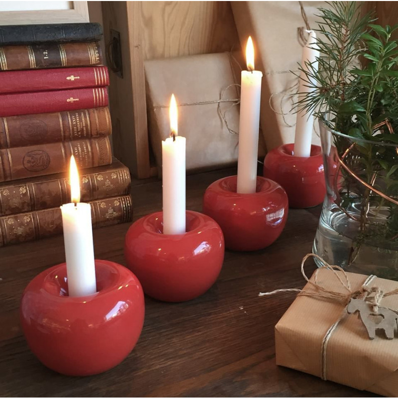 Kerzenhalter Apfel   Rot