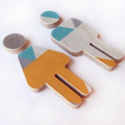 Kinder-WC-Schild Sperrholz | Aqua-Orange-Grau