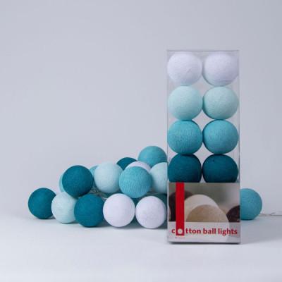 Cotton Ball Light String | Aqua