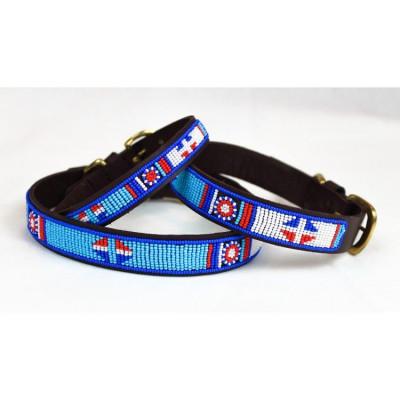 Aqua Dog Collar Medium | Brown Leather