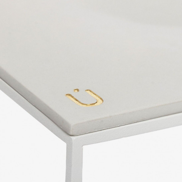MoonSquare Side Table | White Steel Frame / Grey Table Top