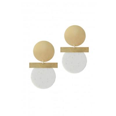 Relic Spirit Earrings | Brass & White