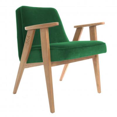 Sessel 366 | Grün Samt & Dunkle Eiche
