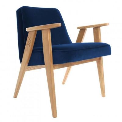 Sessel 366 | Indygo Samt & Dunkle Eiche
