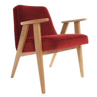 Sessel 366 | Merlot Samt & Dunkle Eiche