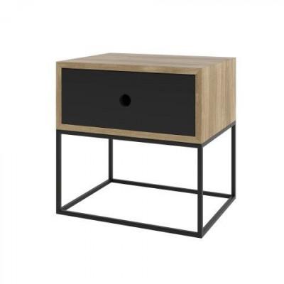 ARSEN Nachttischschrank   Schwarz Matt & Eiche