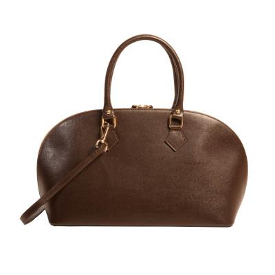 Leather Handbag 1011-c2   Dark Brown