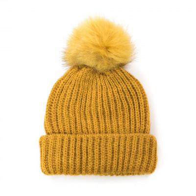 Mütze mit Pompom | Gelb