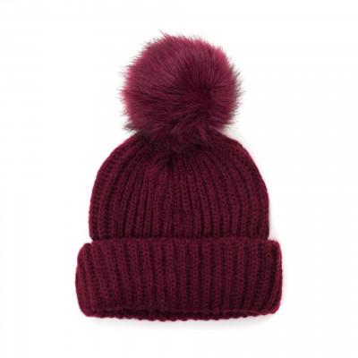 Mütze mit Pompom | Rot