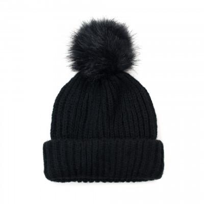 Mütze mit Pompom | Schwarz