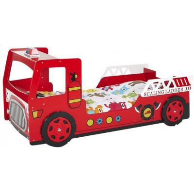Feuerwehrauto-Bett 90 x 200 cm   Rot