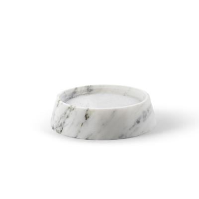 Tellus Marmor-Kerzenhalter Weiß | Niedrig