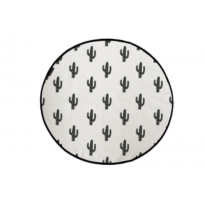 Canvas Rug Black Cactus