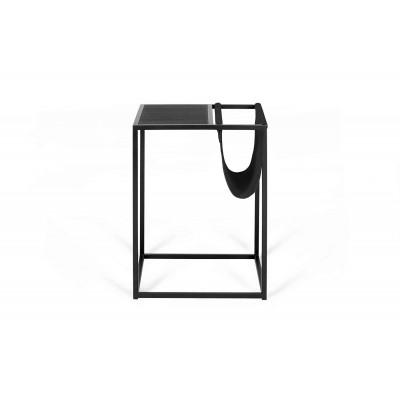 Beistelltisch für Zeitschriften Avei | Schwarz - Schwarzes Leder