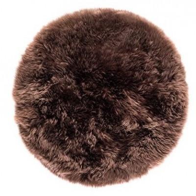Schafwollteppich rund 70 cm   Braun