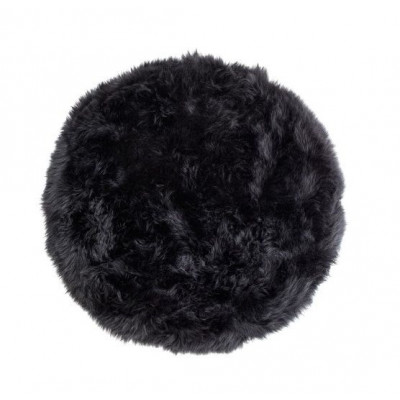 Schafwollteppich rund 70 cm | Schwarz