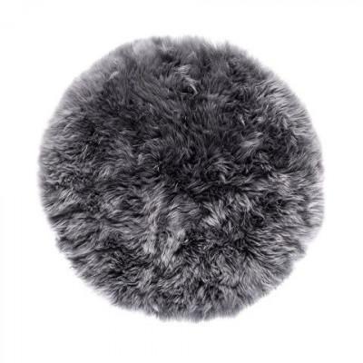 Schafwollteppich rund 70 cm   Grau