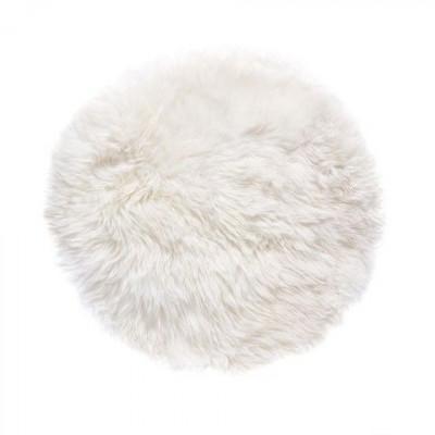 Schafwollteppich rund 70 cm   Weiß