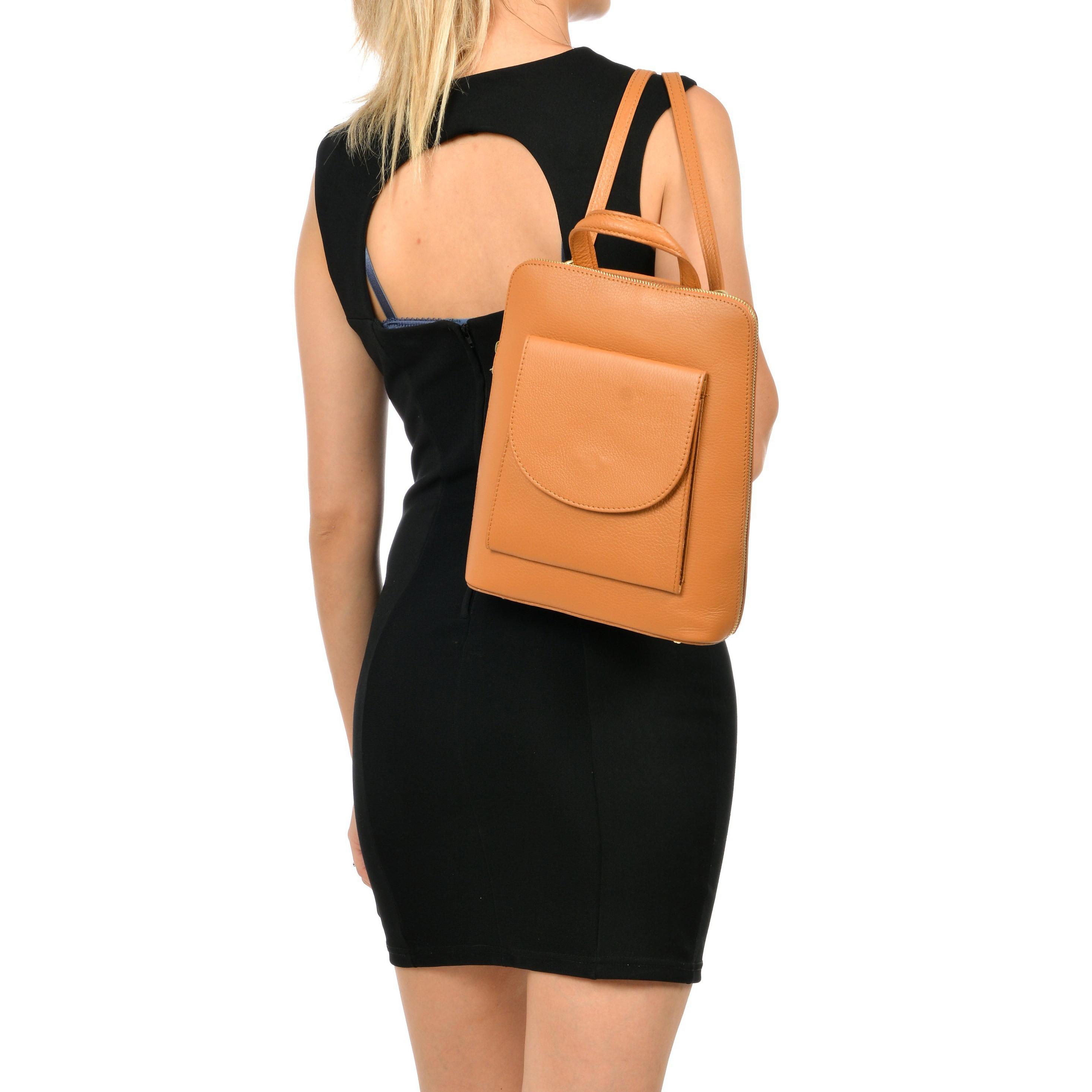 Leder-Rucksack mit Tasche | Cognac