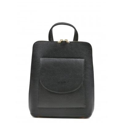 Leder-Rucksack mit Tasche | Schwarz
