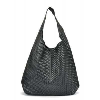 Leder Shopper Bag | Schwarz