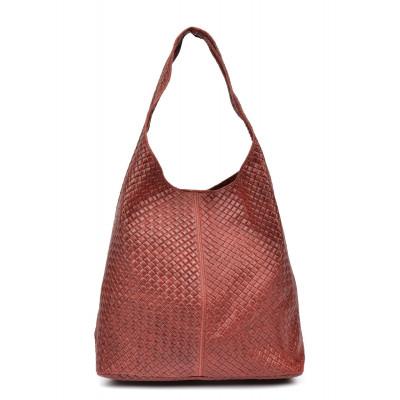 Leder-Shopper-Tasche | Rot