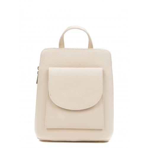 Leder-Rucksack mit Tasche | Weiß
