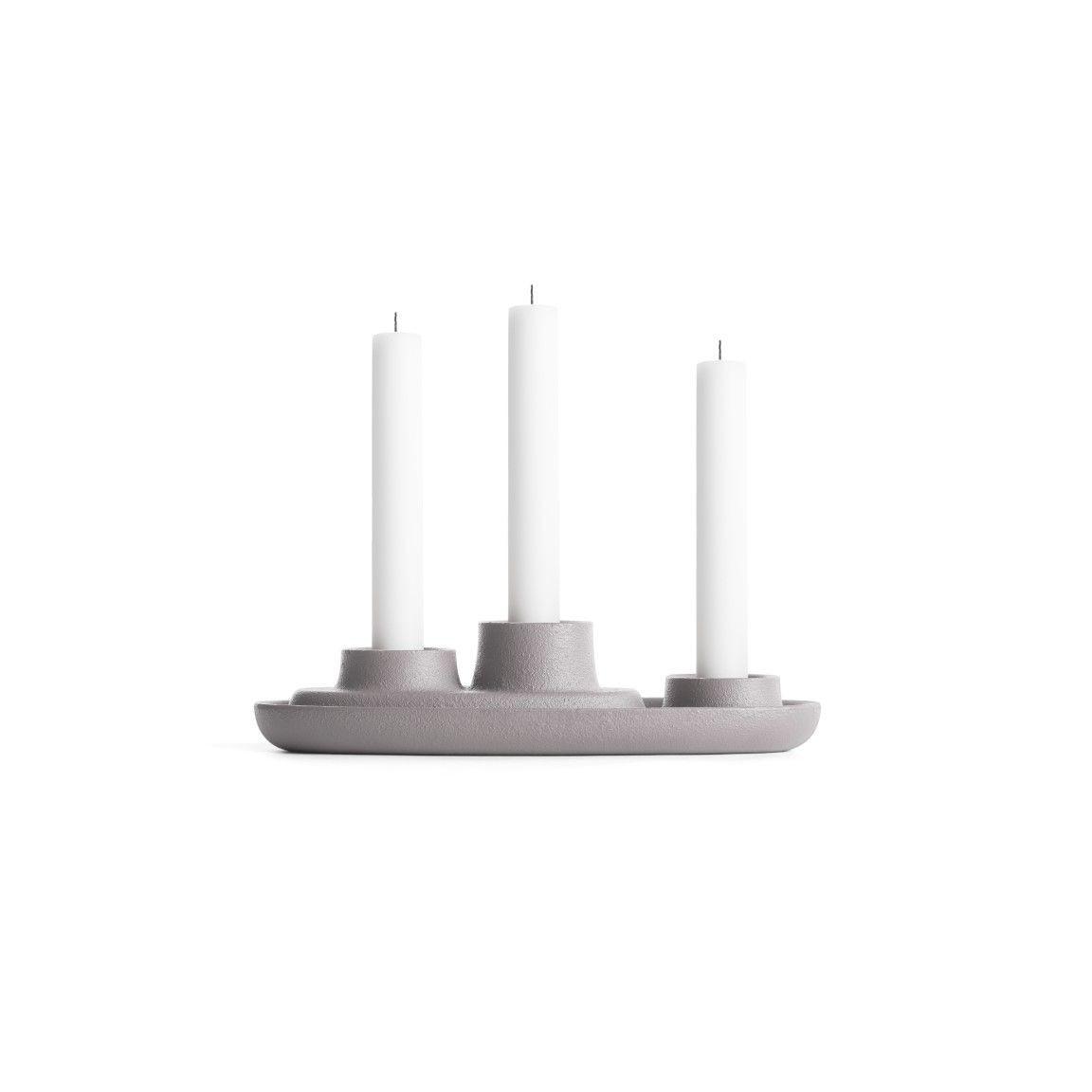 Kerzenhalter für 3 Kerzen | Grau