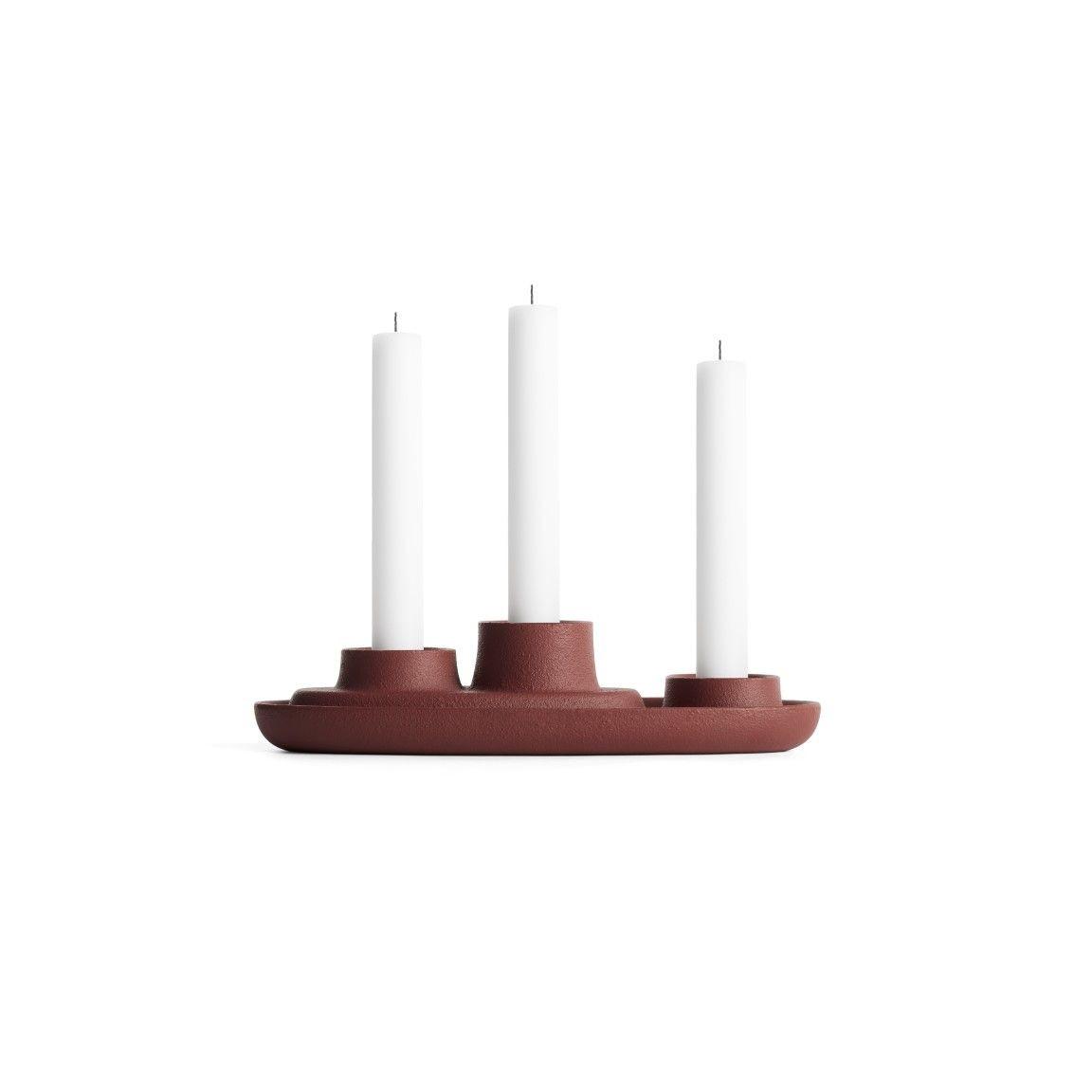 Kerzenhalter für 3 Kerzen   Weinrot