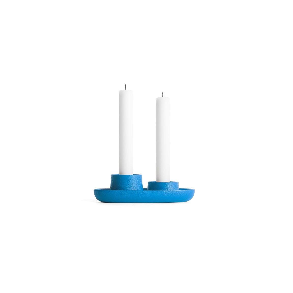 Kerzenhalter für 2 Kerzen   Blau