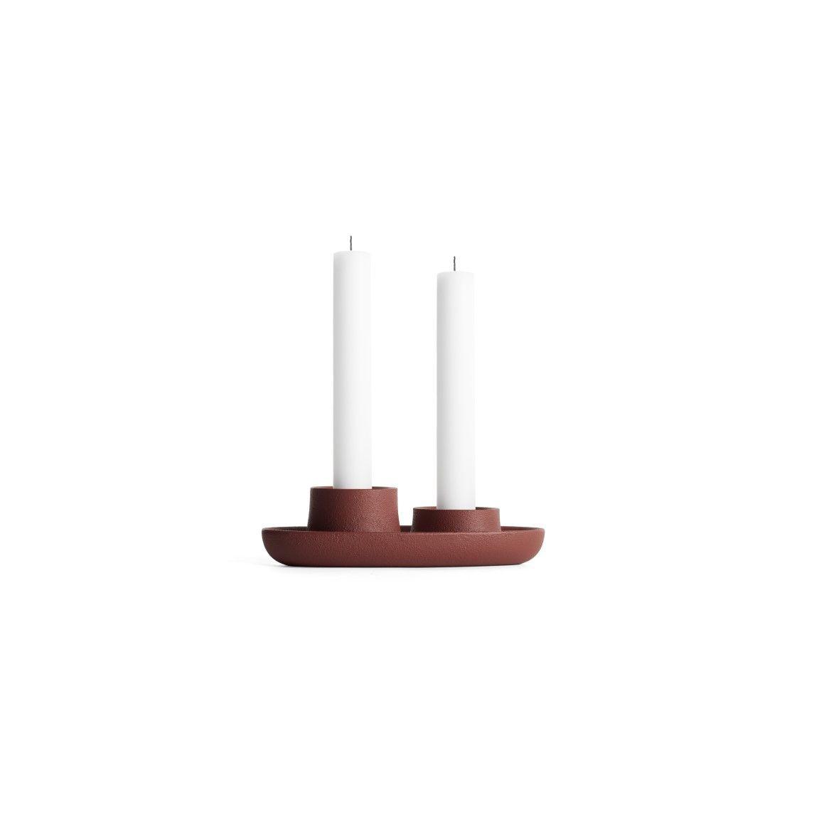 Kerzenhalter für 2 Kerzen   Weinrot