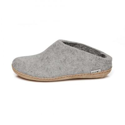 Filz-Slipper-Ledersohle | Grau