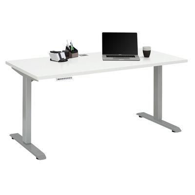 Verstellbarer Computertisch | Platingrau Metall und Weiß Matt