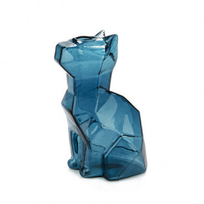 Vase Sphinx Katze 15 cm   Blau