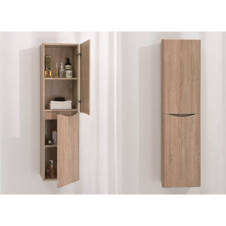 High Bathroom Wall Cabinet   Light Wood