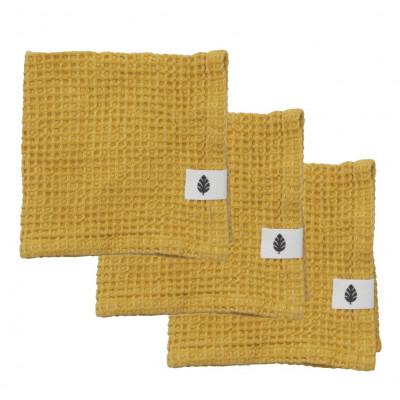 3er-Set Waschlappen Waffly 35 cm | Ocker