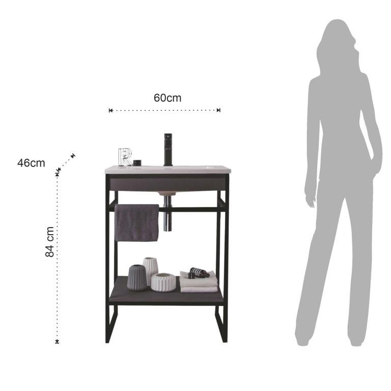 Bathroom Cabinet Loom-B 60 | Dark Grey