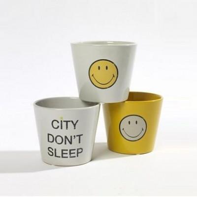 Blumentopf Smiley | 3er-Set | Gelb