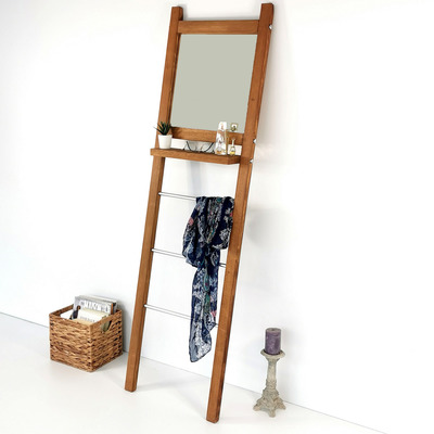 Standspiegel mit Garderobe V110 | Walnuss