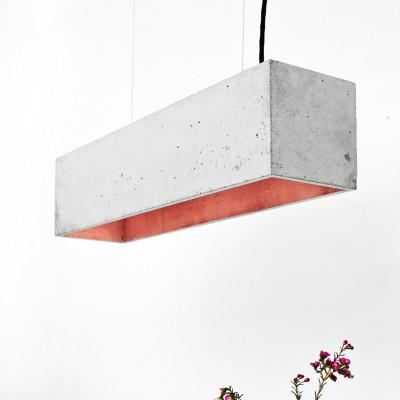 Pendelleuchte B4 | Hellgrauer Beton + Kopfer