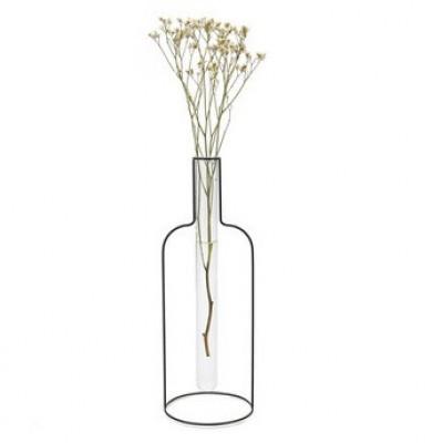 Vase Flasch Silhouette XL   Schwarz