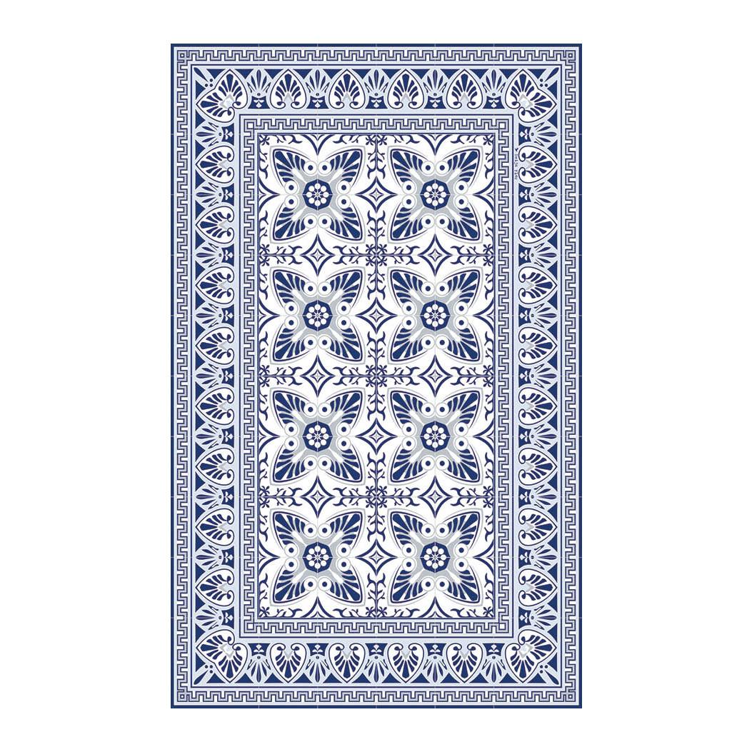Vinyl-Fußbodenmatte Bella   Blau/Weiß