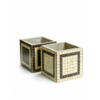 2er-Set Blumentopf Marie Mosaic Square 15 cm | Schwarz & Weiß