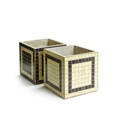 2er-Set Blumentopf Marie Mosaic Square 17 cm | Schwarz & Weiß