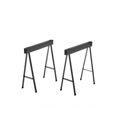 2er-Set Tischböcke Eiche | Schwarz