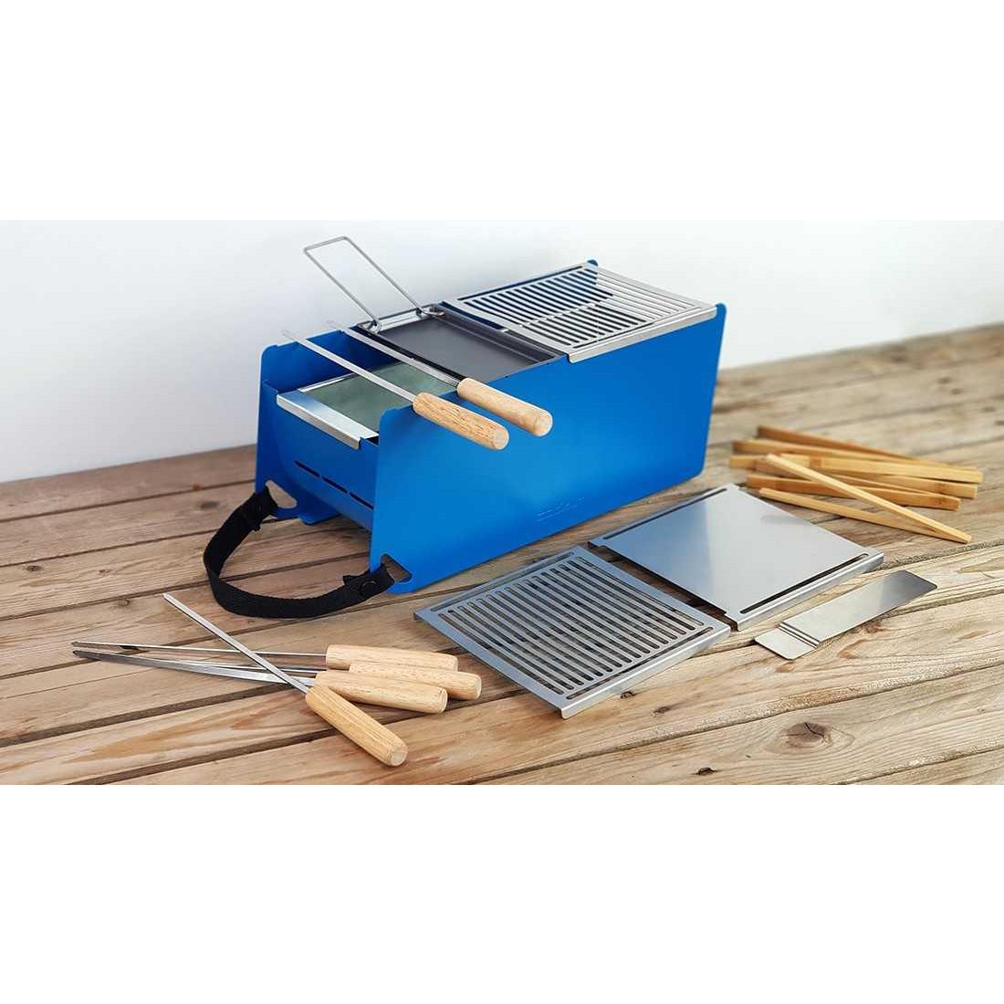Holzkohle- & Wasser-Tischgrill Yaki | Blau