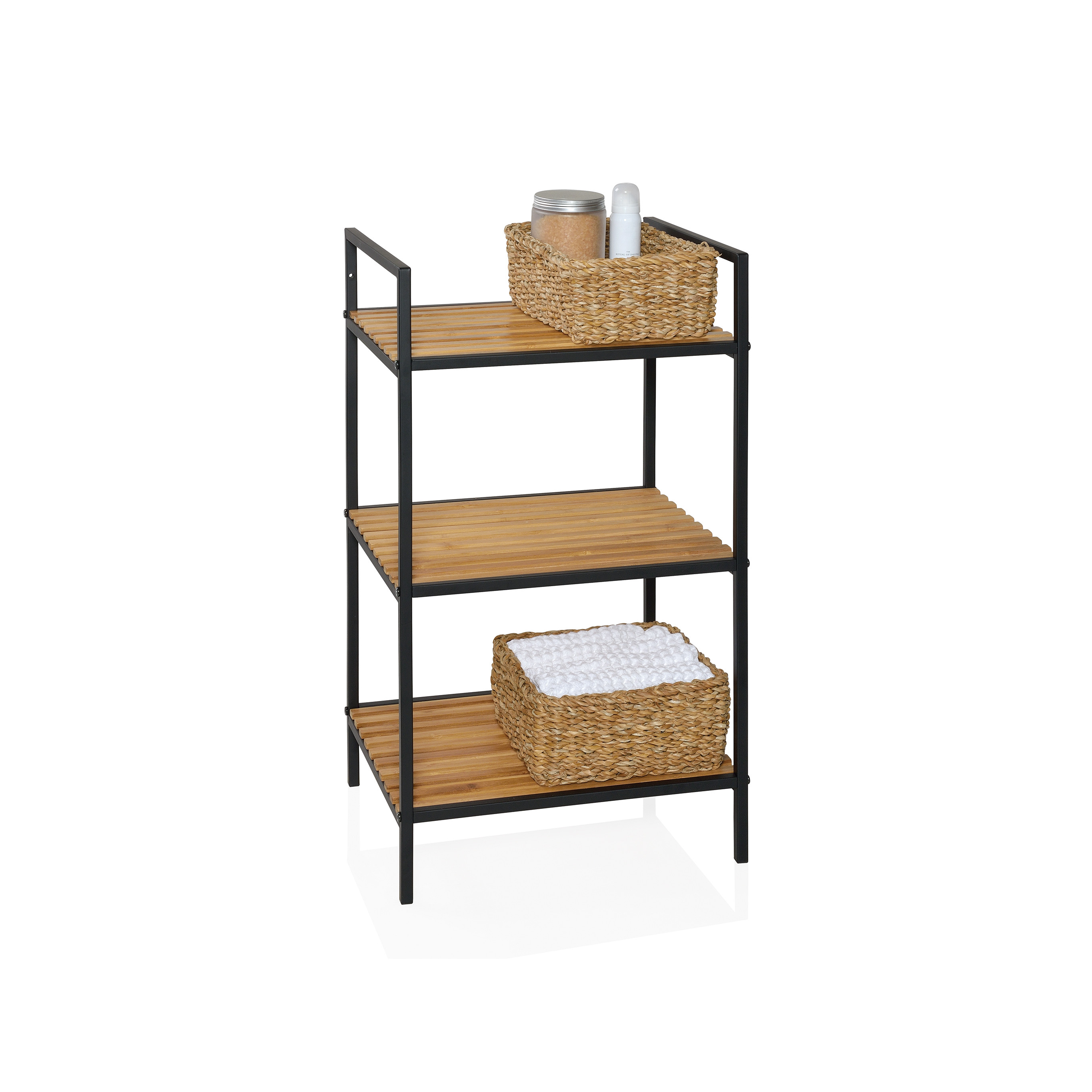 Shelf with 3 Shelves | Black/Bamboo