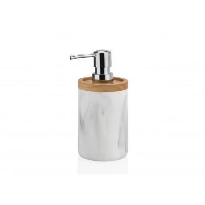 Soap Dispenser | White Marble Effect / Wood