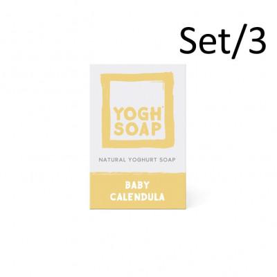 3er-Set Natürliche Joghurtseifen | Baby Ringelblume | Beige