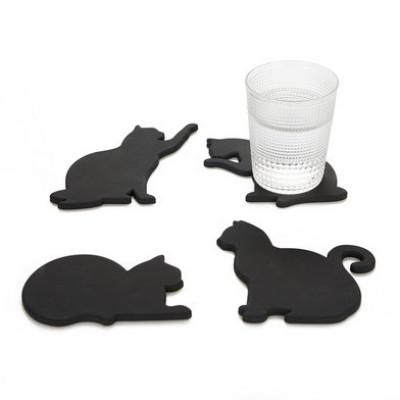 Untersetzer Cat 4er Set   Schwarz